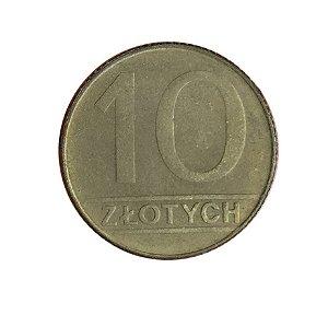 Moeda Antiga da Polônia 10 Zlotych 1990 MW
