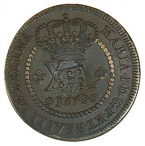 Moeda Antiga do Brasil XL Réis 1790 com Carimbo de Escudete