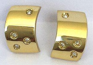 Argolas Estrelas do Céu - Joia de Ouro 18 quilates com Diamantes