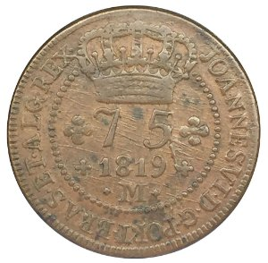 Moeda Antiga 75 Réis 1819 M Reverso Invertido