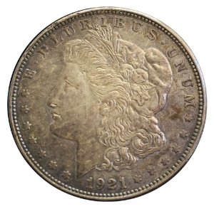 Moeda Antiga dos Estados Unidos $1 Morgan Dollar 1921 S