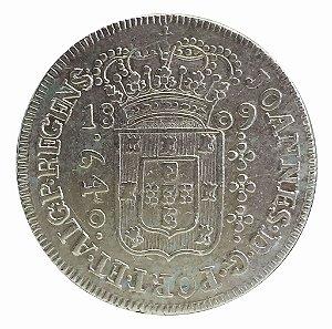 Moeda Antiga do Brasil 640 Réis 1809 B (Invertido)