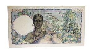 Cédula Antiga da África Ocidental Francesa 1000 Francs 1948