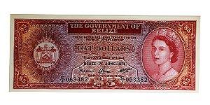 Cédula Antiga de Belize $5 1975