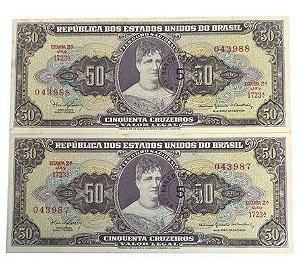 Cédulas Antigas do Brasil 5 Centavos 1967 (Duas Cédulas Seriadas)