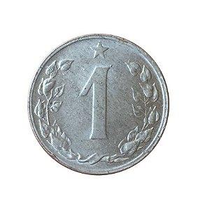Moeda Antiga da Tchecoslováquia 1 Haler 1956