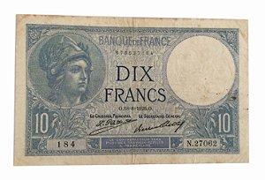 Cédula Antiga da França 10 Francs 1926