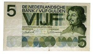 Cédula Antiga da Holanda 5 Gulden 1966