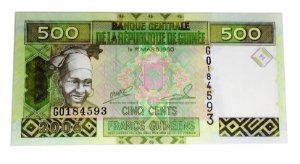 Cédula Antiga da Guiné 500 Francs 2006