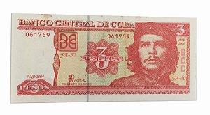 Cédula Antiga de Cuba 3 Pesos 2004