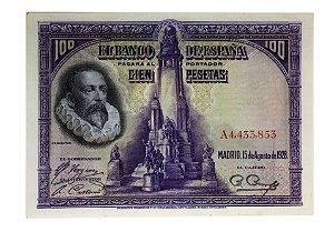 Cédula Antiga da Espanha 100 Pesetas 1928
