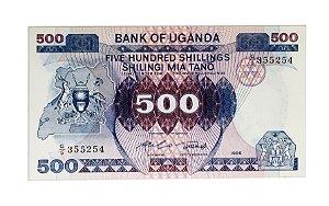 Cédula Antiga da Uganda 500 Shillings 1986