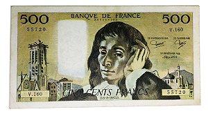 Cédula Antiga da França 500 Francs 1982
