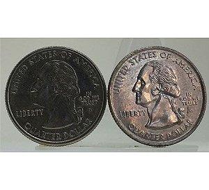 Moedas Antigas dos Estados Unidos Quarter Dollar 2000-2001 (2 moedas)