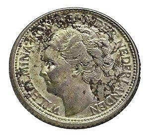 Moeda Antiga da Holanda 25 Cents 1944