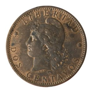 Moeda Antiga da Argentina 2 Centavos 1885