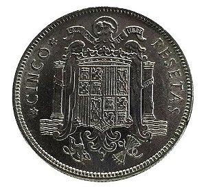 Moeda Antiga da Espanha 5 Pesetas 1949 *50