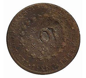 Moeda Antiga do Brasil 40 Réis 1825 C com Carimbo Geral de 10