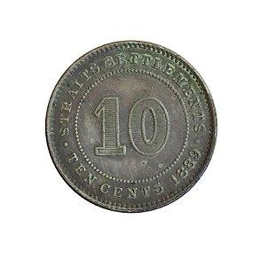 Moeda Antiga de Straits Settlements 10 Cents 1889