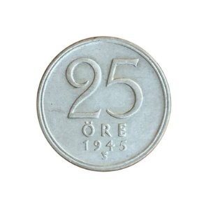 Moeda Antiga da Suécia 25 Ore 1945 TS