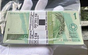 Lote com 100 Cédulas Antigas do Brasil 1 Real 2003 - Estampa CB