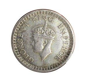 Moeda Antiga da Índia Britânica 1/2 Rúpia 1943