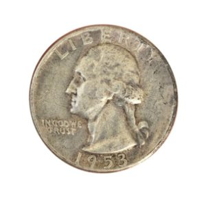 Moeda Antiga dos Estados Unidos Washington Quarter 1953