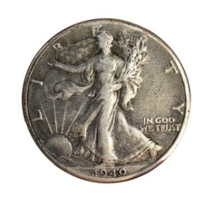 Moeda Antiga dos Estados Unidos Half Dollar 1940 - Walking Liberty