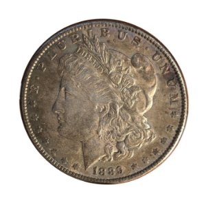 Moeda Antiga dos Estados Unidos Morgan Dollar 1889