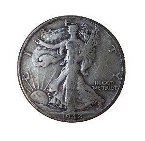 Moeda Antiga dos Estados Unidos Half Dollar 1942 D - Walking Liberty