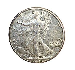 Moeda Antiga dos Estados Unidos Half Dollar 1942 - Walking Liberty