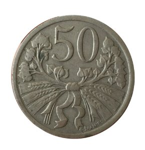 Moeda Antiga da Tchecoslováquia 50 Haleru 1931