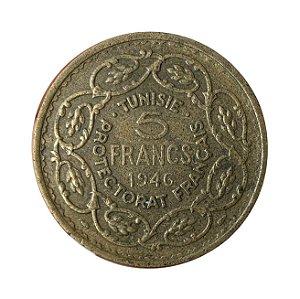 Moeda Antiga da Tunísia 5 Francs 1946 - Protetorado Francês