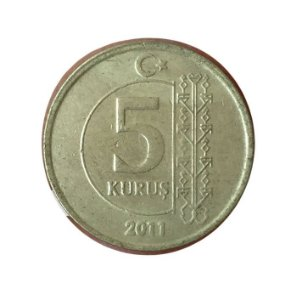 Moeda Antiga da Turquia 5 Kurus 2011