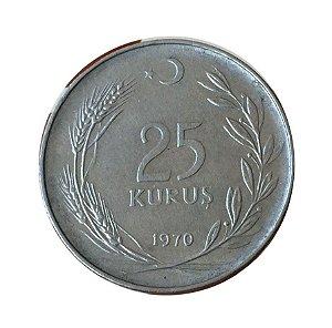 Moeda Antiga da Turquia 25 Kurus 1970