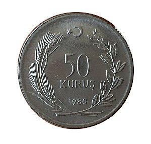 Moeda Antiga da Turquia 50 Kurus 1980 - F.A.O Planejamento Familiar
