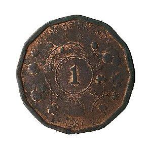 Moeda Antiga da Uganda 1 Shilling 1987