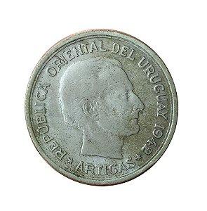 Moeda Antiga do Uruguai 1 Peso 1942