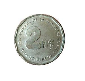 Moeda Antiga do Uruguai 2 Nuevos Pesos 1981 - Dia Mundial da Alimentação