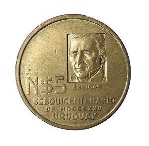 Moeda Antiga do Uruguai 5 Nuevos Pesos ND(1975)Sº