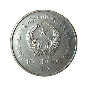 Moeda Antiga do Vietnam 10 Dong 1987 - Orangotango