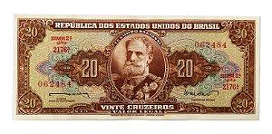 Cédula Antiga do Brasil 20 Cruzeiros 1962 - Marechal Deodoro da Fonseca