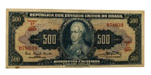 Cédula Antiga do Brasil 500 Cruzeiros 1961 - D. João VI