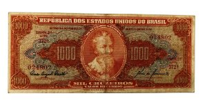 Cédula Antiga do Brasil 1000 Cruzeiros 1960 - Pedro Alvares Cabral