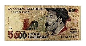 Cédula Antiga do Brasil 5000 Cruzeiros Reais 1993 - O Gaúcho