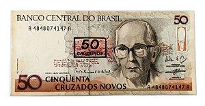 Cédula Antiga do Brasil 50 Cruzeiros 1990 - Carlos Drummond de Andrade