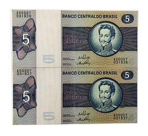 02 Cédulas Antigas do Brasil 5 Cruzeiros 1970 - D. Pedro I