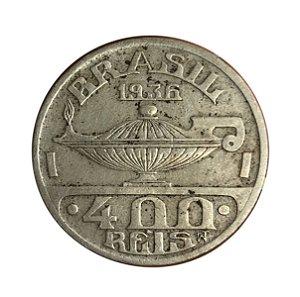 Moeda Antiga do Brasil 400 Réis 1936  - Oswaldo Cruz