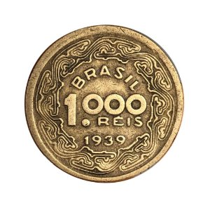 Moeda Antiga do Brasil 1000 Réis 1939 - Tobias Barreto