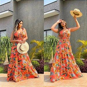 Vestido longo Estampado Girassol